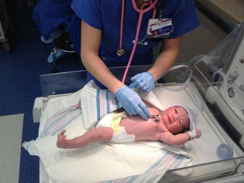 Неонатолог осматривает только что родившегося малыша