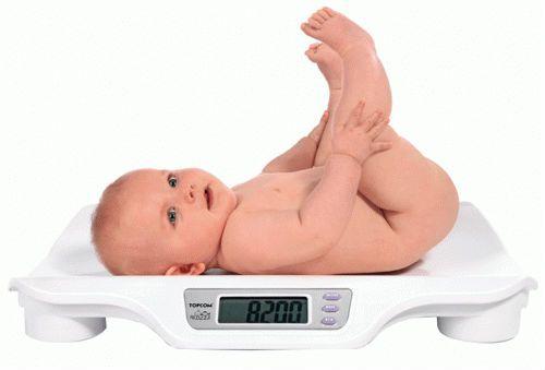 Малыш лежит на весах