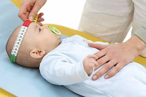 Измерение окружности головки у младенца