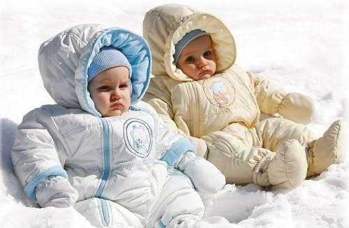 Дети в зимних комбинезонах