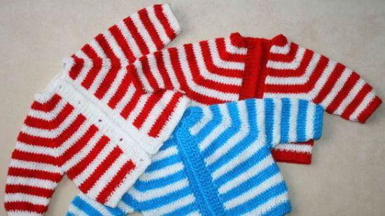Кофточки для младенцев спицами