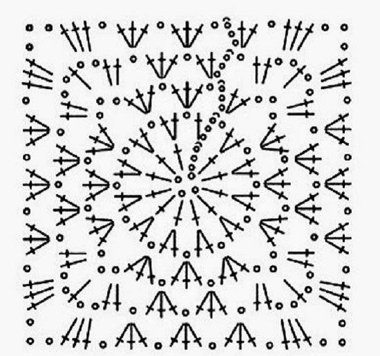 Схема вязания квадрата