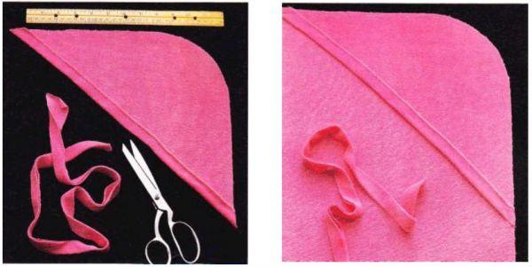 Процесс пошива детского полотенца