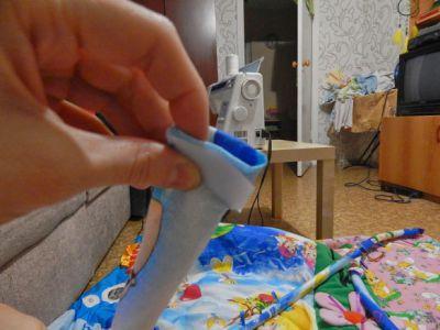 Пришивание второй части липучки
