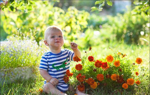 Ребенок на лужайке с цветами