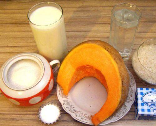Тыква, молоко, сахар, вода
