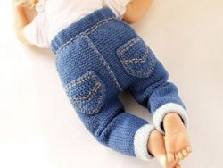 Вязаные штанишки для новорожденного